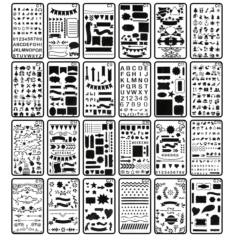 Bullet Journal Stencil, CiaraQ 24 Pieces 4x7 Inch Plastic Planner Stencils Journal/Notebook/Diary/Scrapbook DIY Drawing Template Stencil 4336890701