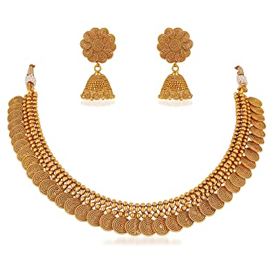 Buy Meenaz South Indian Traditional Gold Choker Necklace Set