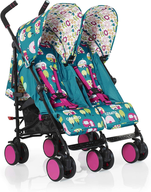 Cosatto Super Dupa Go carrito gemelar doble para beb/és verde Happy Campers