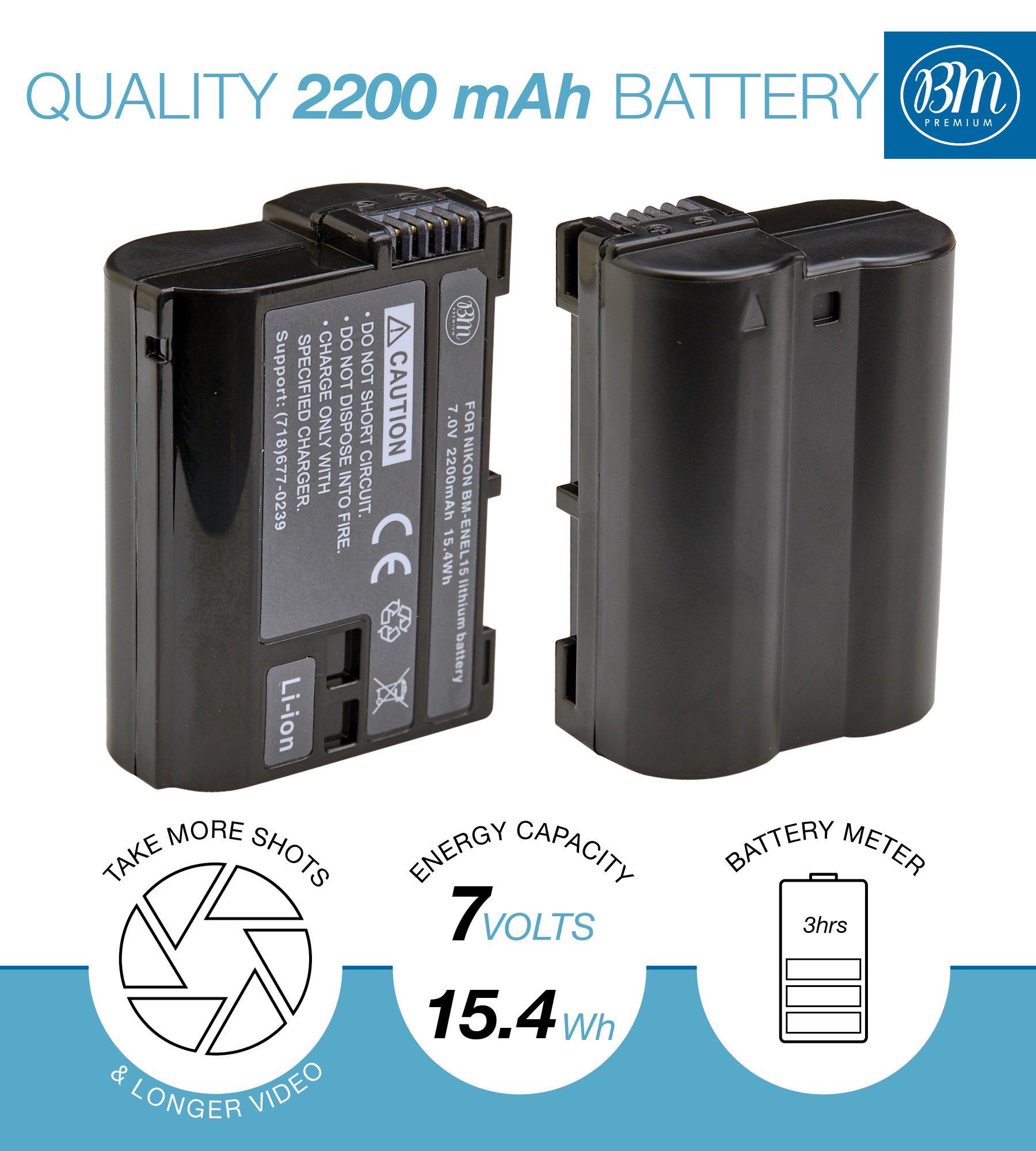 BM Premium EN-EL15 Battery for Nikon D850, D7500, 1 V1, D500, D600, D610, D750, D800, D800E, D810, D810A, D7000, D7100, D7200 Digital SLR Camera by BM Premium (Image #3)