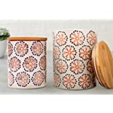 Kitchen Canister Set 2 Stoneware Jars for Tea, Coffee, Sugar, Vintage Embossed Floral Pattern, Gifts for Her