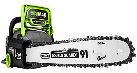Amazon earthwise lcs35814 14 inch 58 volt cordless brushless earthwise lcs35814 14 inch 58 volt cordless brushless motor chainsaw 2ah battery greentooth