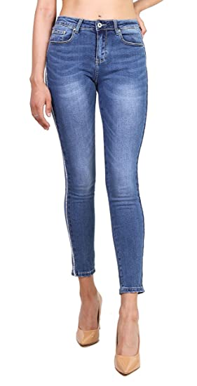 Toxik3 Jean Skinny Femme Denim Bleu Pantalons Bande latérale Slim fit  Stretch Taille L e22fba22a0d4