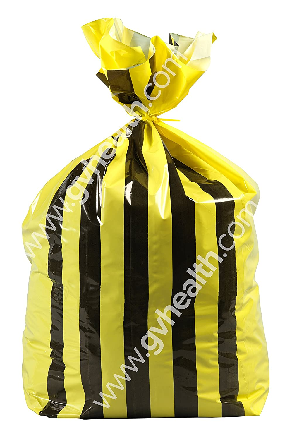 90L Large Double Sided Print Tiger Stripe Polythene Offensive Waste Bags 25mu (250 Bags) GV Health MVN470