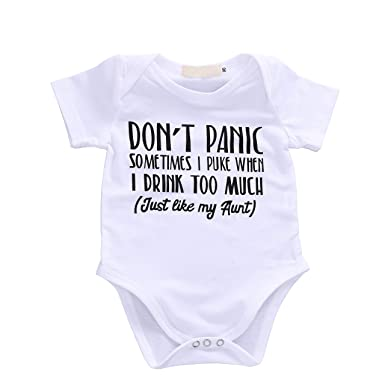 a31f021f Baby Boys Girls Romper Summer Clothes Kids Jumpsuit Playwear Don't Panic  Letter Printed Infant