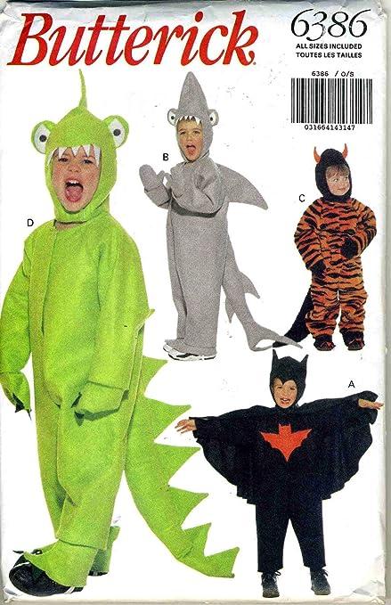 Amazon Butterick Costume Pattern 60 Dragon Dinosaur Shark Custom Toddler Halloween Costume Patterns