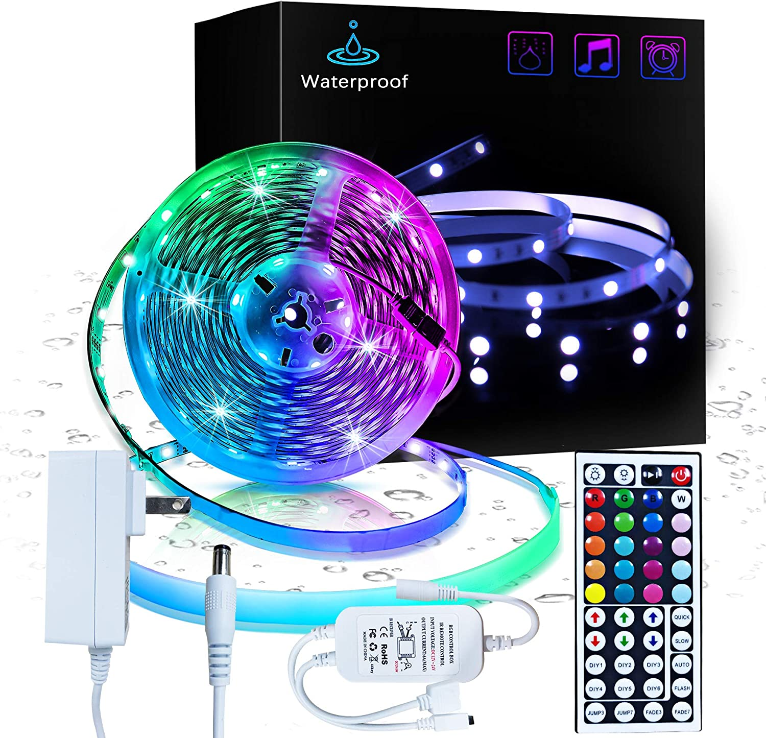 Inscrok 16.4ft LED Light Strips 5050 RGB Waterproof LED Strip Lights for Bedroom,Aesthetic Room Decor, Home Decorations