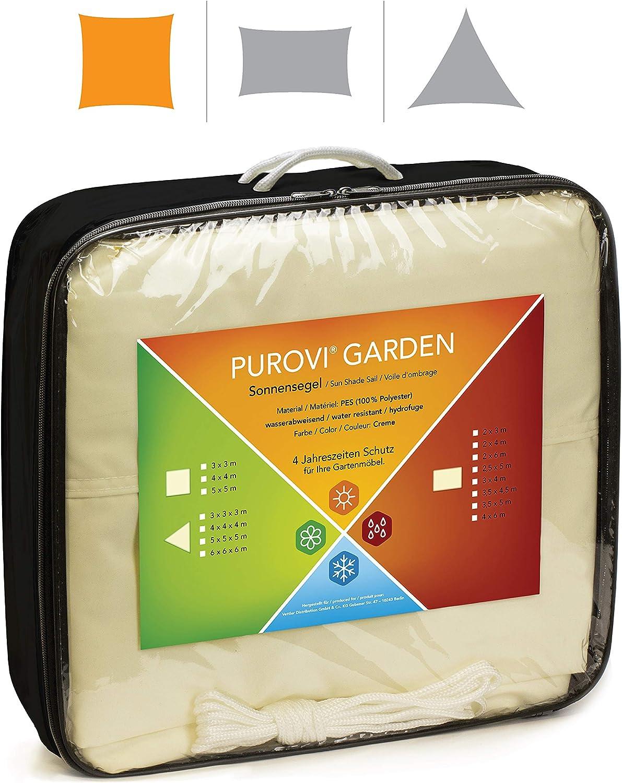 Purovi® Toldo Cuadrado | Varias Dimensiones | Protección UV | PES Impermeable | 5 x 5 m