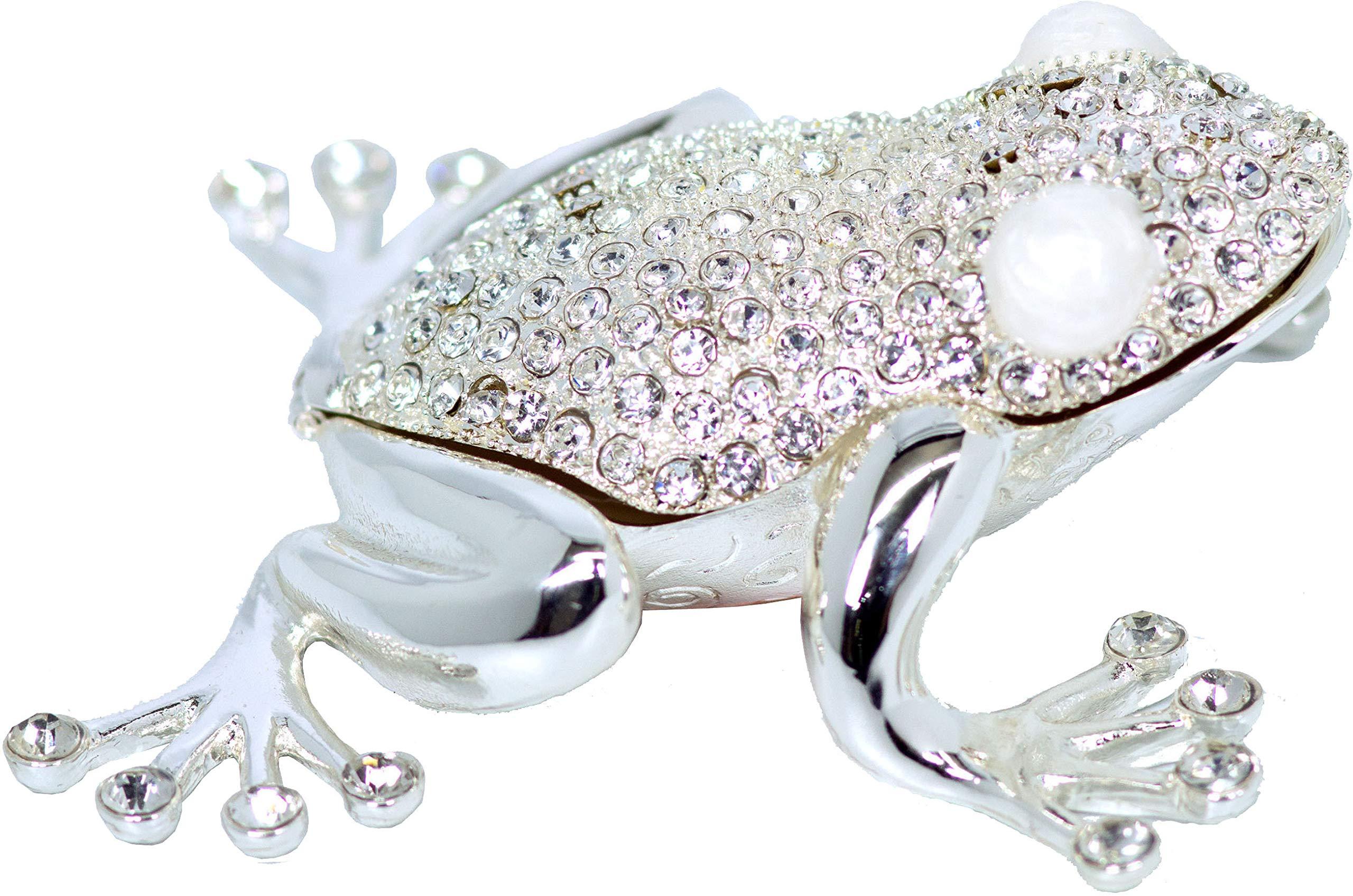 VI N VI Silver Rhinestone Frog Toad Jewelry Trinket Box Gift by VI N VI