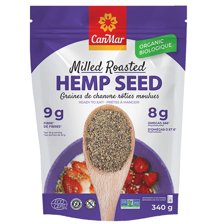 CanMar Organic Hemp Seed (12oz/340g) | Milled Roasted Hemp Seeds | Ready to Eat - Great Taste & Aroma | Ideal Plant Based Protein Source | Omega-3, Omega-6, GLA | Fiber, Gluten-Free, Nut-Free