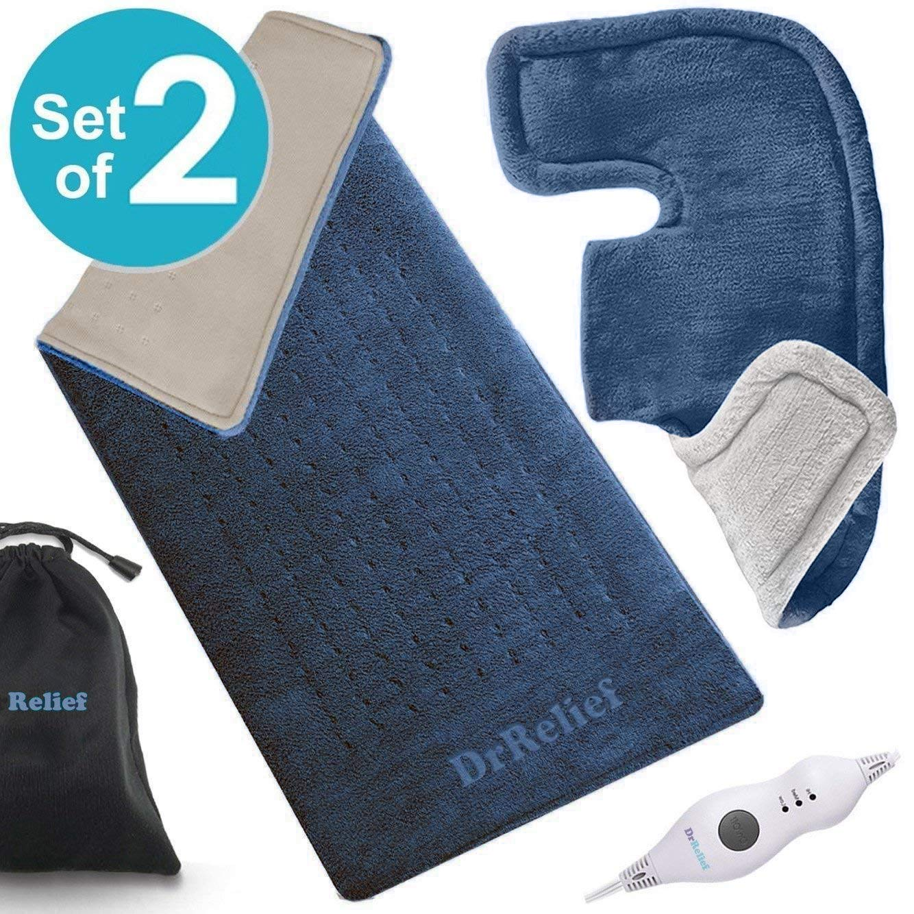 "Heating Pad Gift Set of 2 - King Size 18"" x 25"" Shoulder Heating Pad and 12"" x 24"" Fast Heating Wrap with Auto Shut Off for Back, Neck and Shoulder, Abdomen, Waist Pain Relief, Dry/Moist Option - NAVY"
