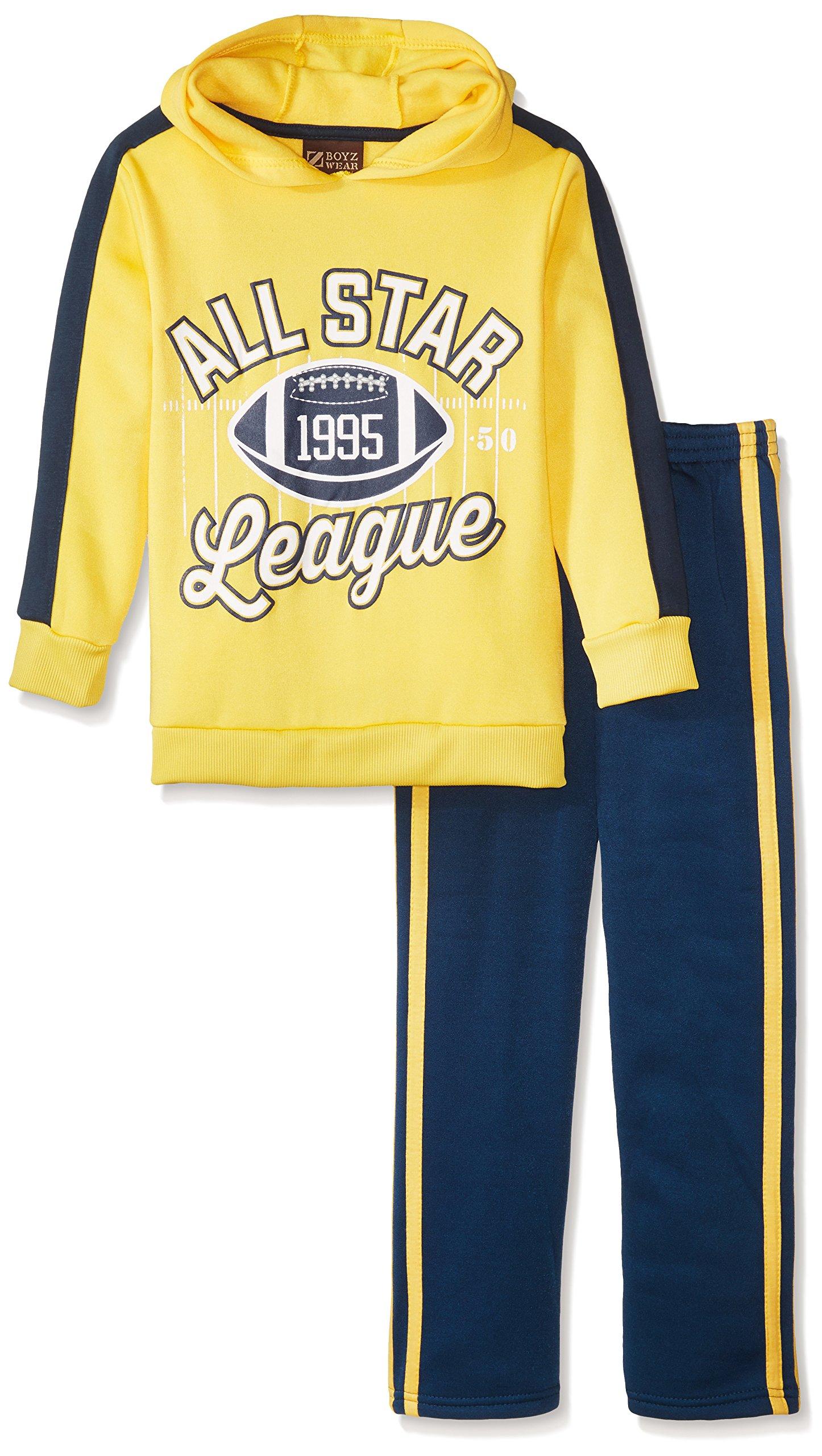 BoyzWear Little Boys' 2 Piece All Star League Fleece Set, Yellow, 5