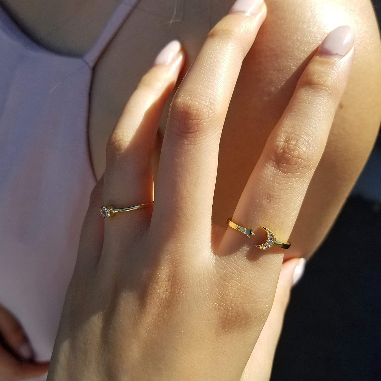 Gold ring Silver ring opal ring Minimalist ring moon ring Stackable ring Tiny ring boho ring Delicate ring Dainty ring simple ring