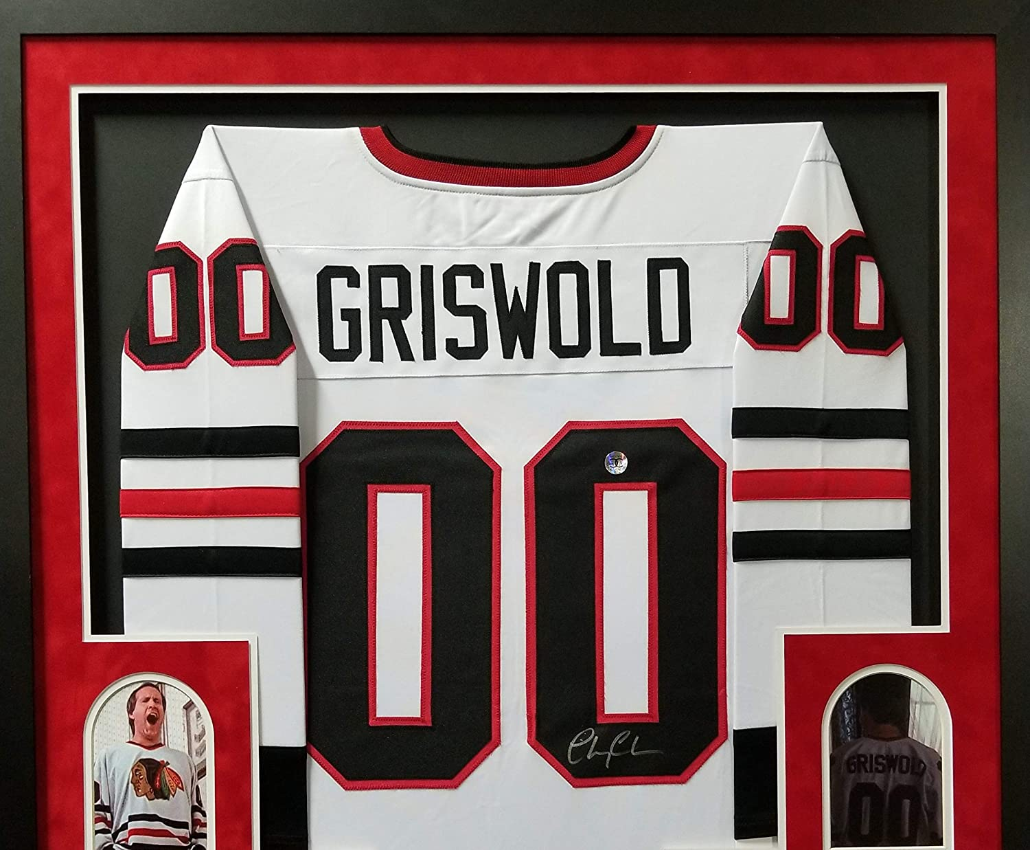 Chevy Chase Clark Griswold Chicago Blackhawks Autograph Signed Christmas Vacation The Movie Custom Framed Jersey Suede Matted Beckett Chevy Chase Hologram Certified At Amazon S Sports Collectibles Store