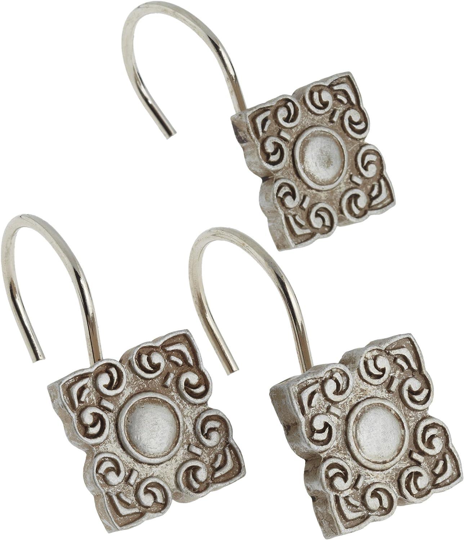 Carnation Home Fashions Bellport Ceramic Resin Shower Curtain Hook, Silver
