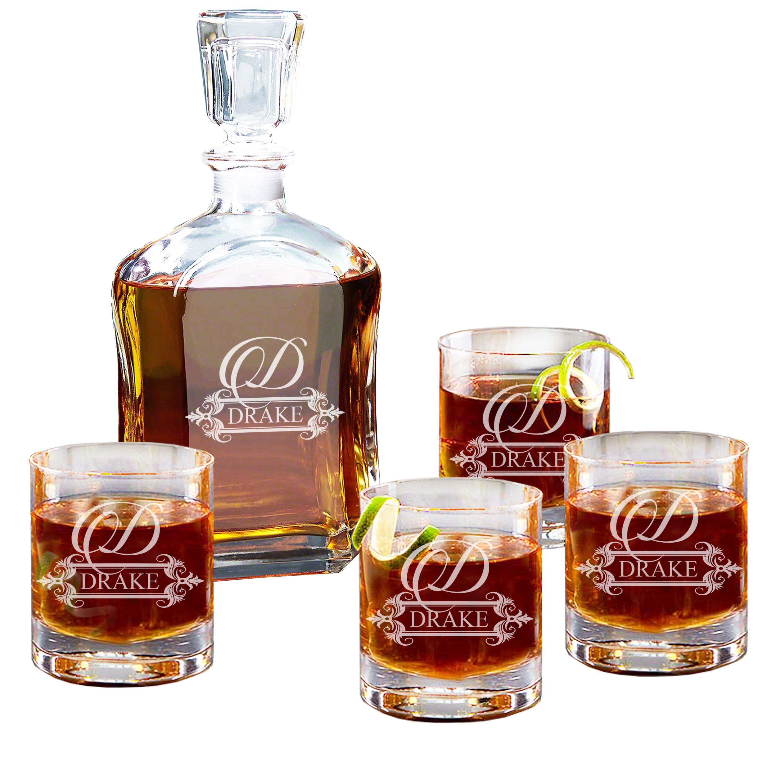 Personalized 5 pc Whiskey Decanter Set - Decanter and 4 Glasses Gift Set - Custom Engraved with Fancy Design by My Personal Memories