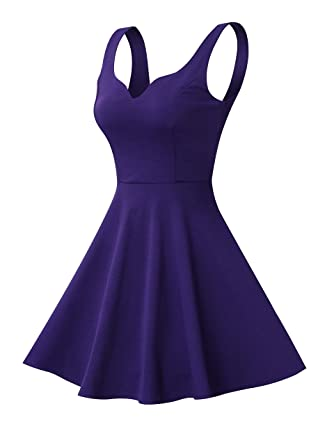 Missufe Women S Sleeveless Sweetheart Flared Mini Dress At Amazon