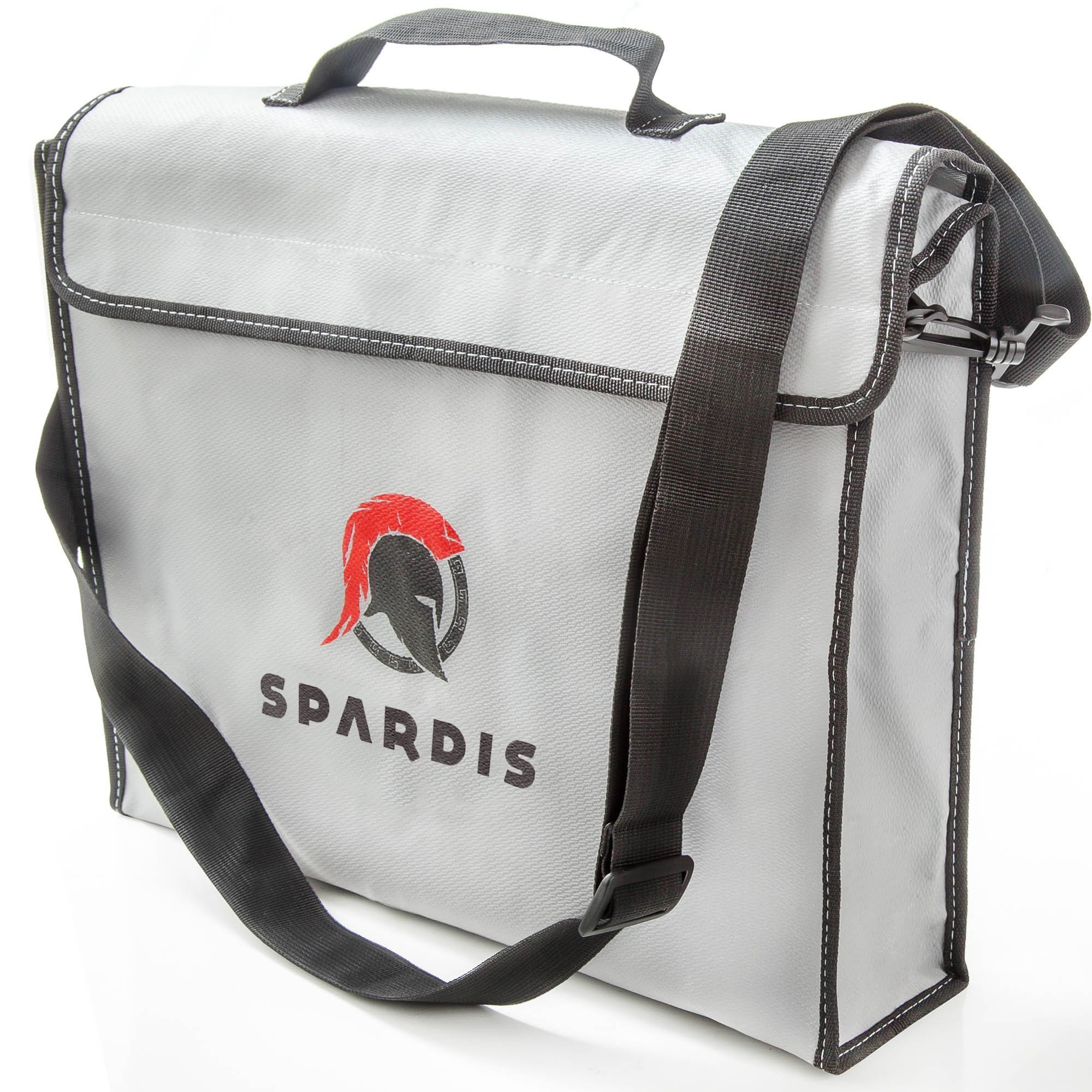 Spardis XXL Fireproof Document Bag (16''x3.5''12'') Dual Layer Fire Resistant Lipo Bag w/ Handle, Shoulder Strap, Heat-Proof Aluminum, No-Itch Silicone Coated Fiberglass & Heavy-duty Zipper