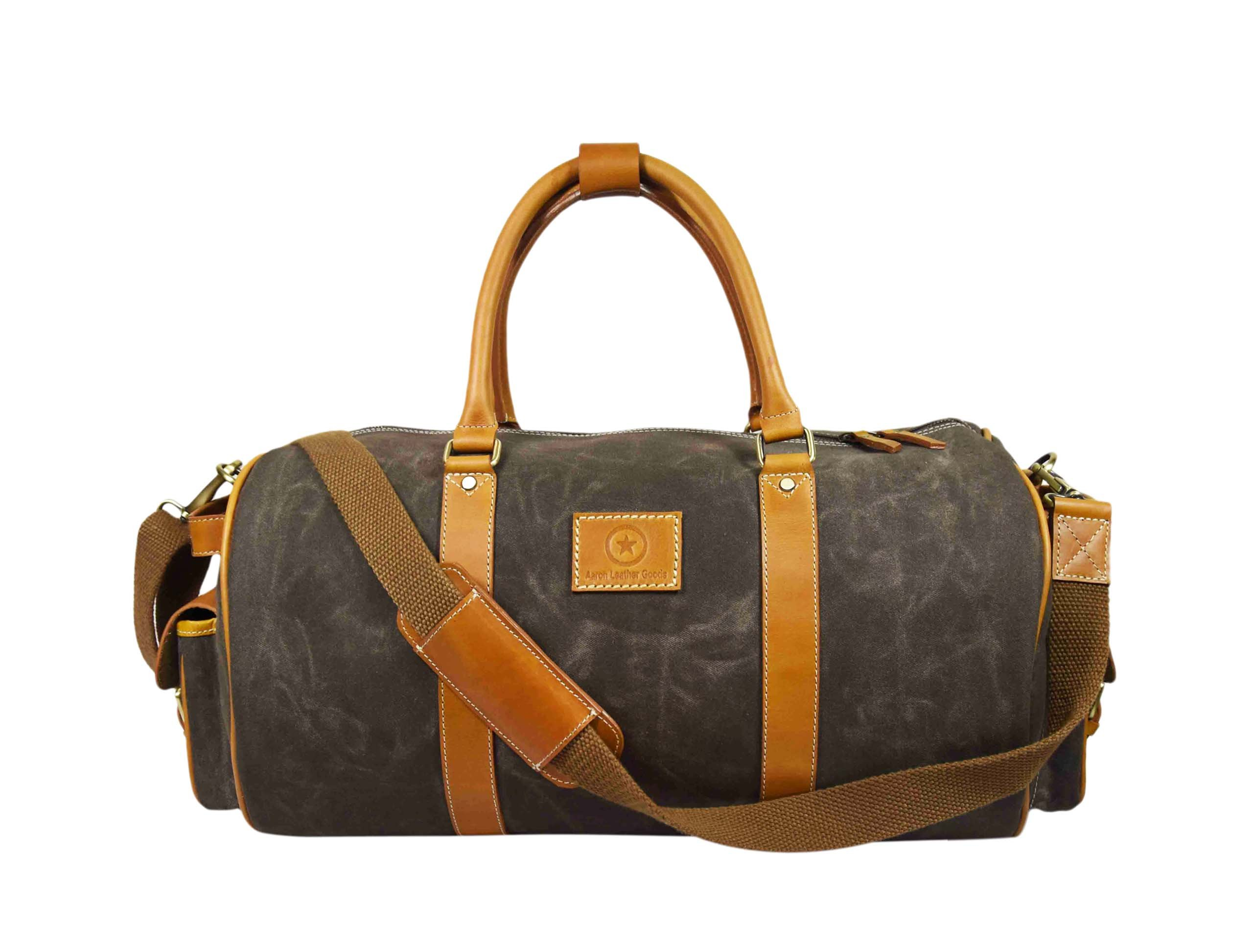 Water-Resistant Retro Style Travel Duffle Bag| Waxed Canvas Multi-Functional Weekender Bag | Unisex Holdall Bag By Aaron Leather (Brown)