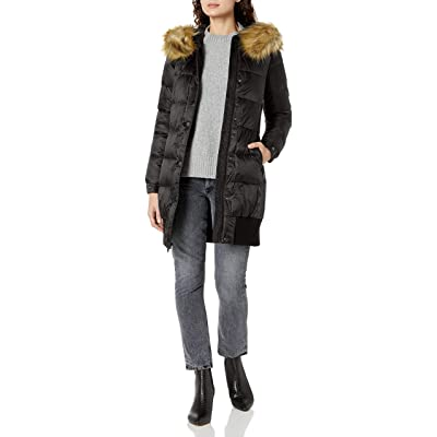 7 For All Mankind Women's Blouson Body Down Coat with Detachable Faux Fur Trim: Clothing