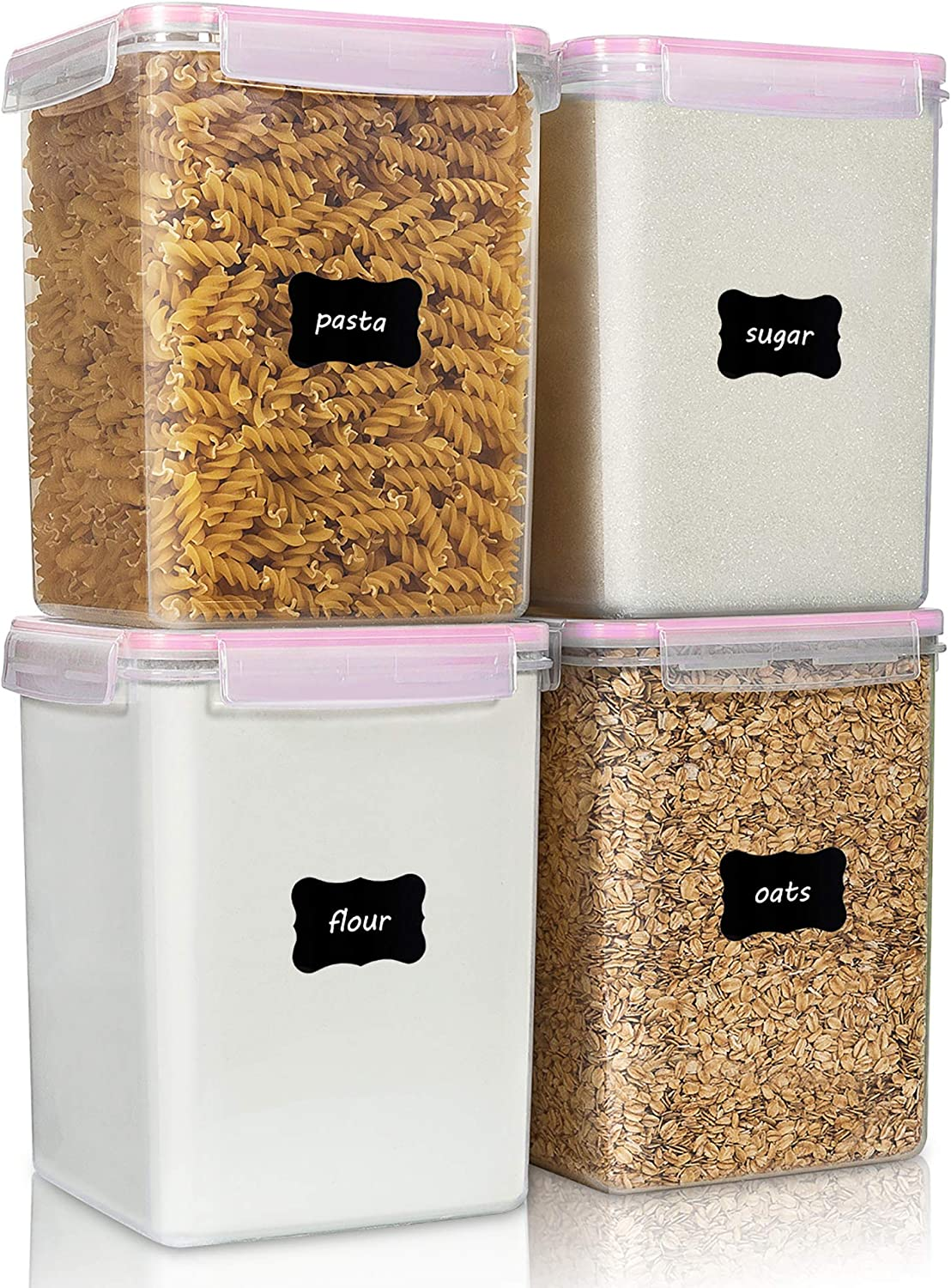 Large Food Storage Containers 5.2L / 176oz, Vtopmart 4 Pieces BPA Free Plastic Airtight Food Storage Containers for Flour, Sugar, Baking Supplies, with 4 Measuring Cups and 24 Labels, Pink