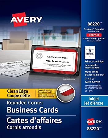 Amazon Com Avery Two Side Printable Clean Edge Rounded Corner Business Cards For Inkjet Printers White Pack Of 160 88220 Business Card Stock Office Products