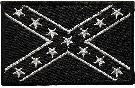 Confederados negro y blanco Bandera bordado insignia parche para coser o planchar 9 cm: Amazon.es: Hogar