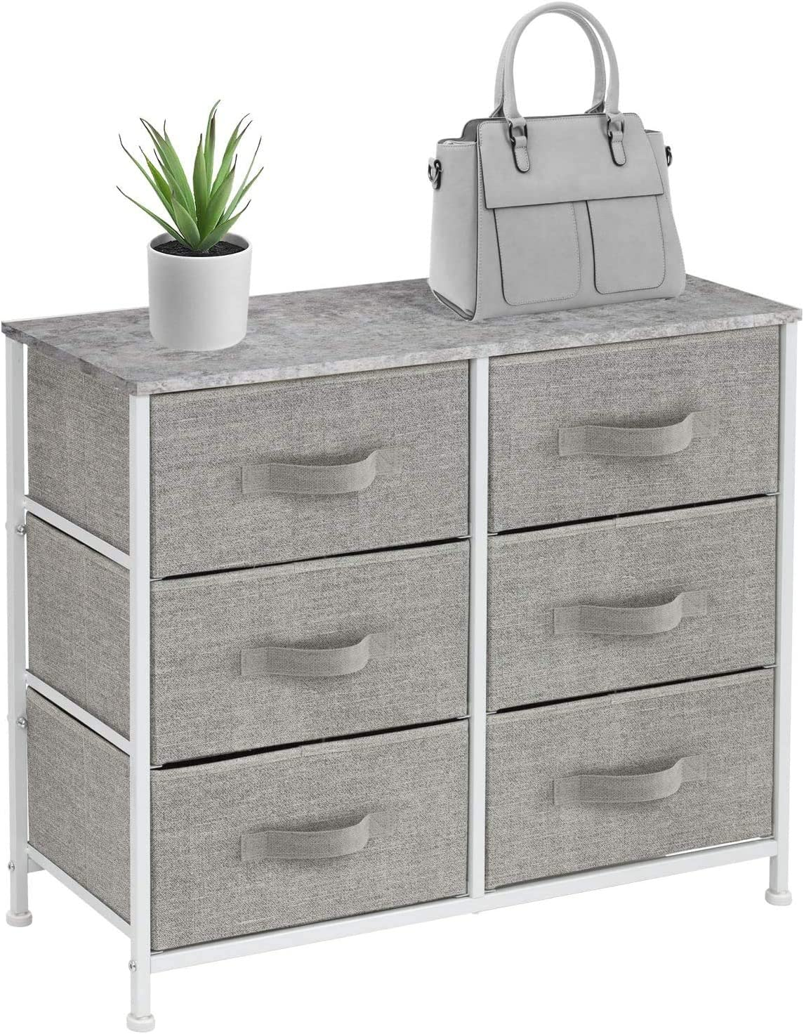 Sorbus Dresser with 6 Drawers - Furniture Storage Tower Unit for Bedroom, Hallway, Closet, Office Organization - Steel Frame, Wood Top, Easy Pull Fabric Bins (6 Drawer - Gray)