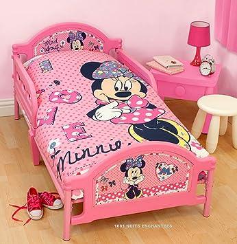 Parure De Lit Bebe Housse De Couette Taie Minnie Mouse Disney