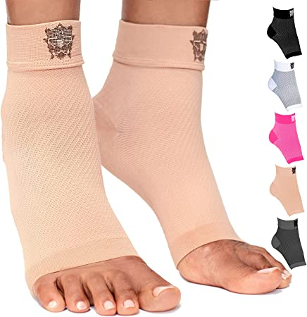 Bitly Plantar Fasciitis Compression Socks for Women & Men - Best Ankle Compression Sleeve, Nano Brace for Everyday Use - Provides Arch Support & Heel Pain Relief (Nude, Large)
