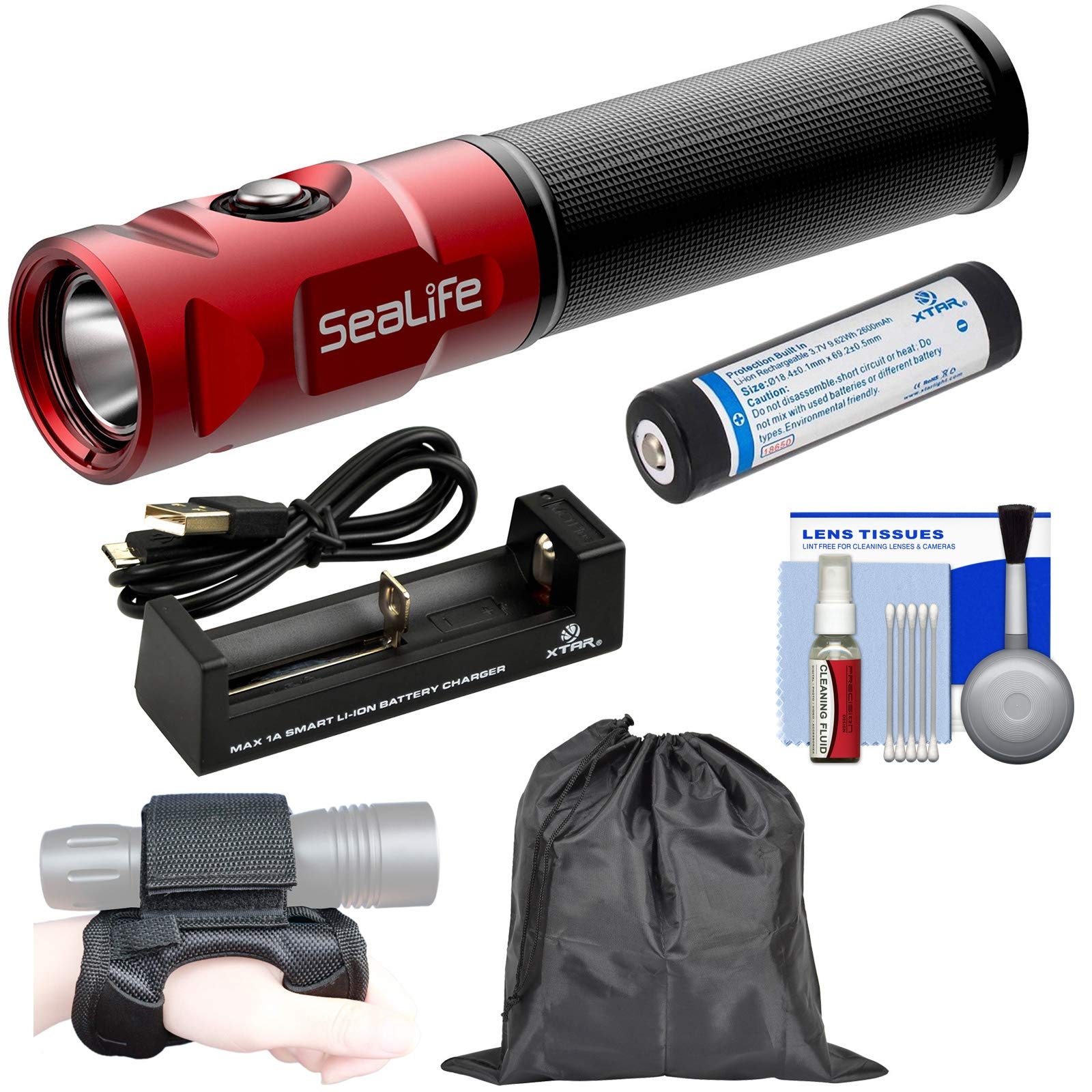 SeaLife Sea Dragon Mini 900 Lumen LED Dive Light Power Kit with 18650 Battery & Charger + Hand Strap + Pouch + Kit