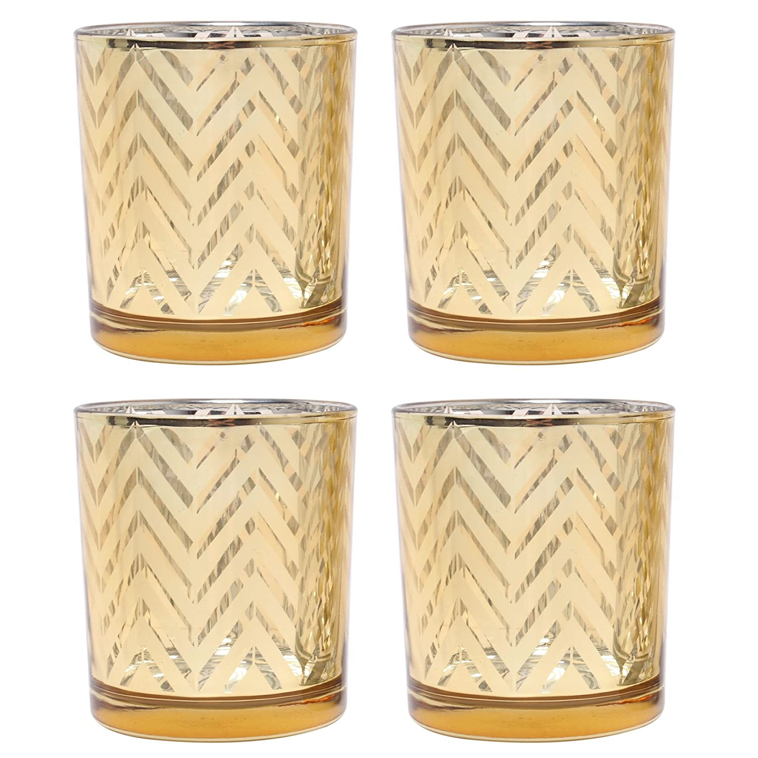 Hosley's Set of 4 Gold Glass Tealight Holders - 3.15 High. great for weddings, party, gifts, spa etc. HG Global AMZ-G97050WZ-4-EA