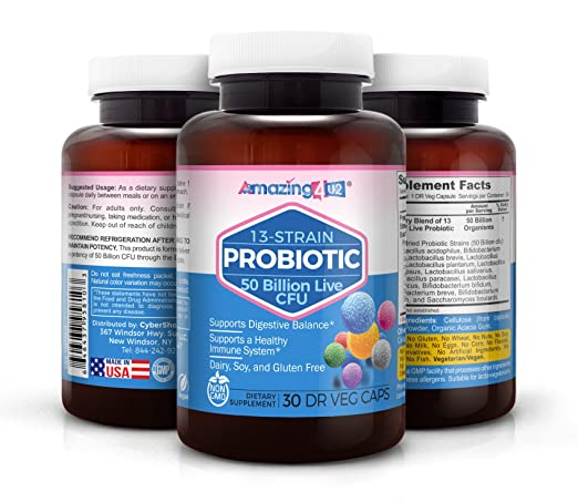 Amazing 4U2 Probiotics 50-Billion 13-Live Strains, Best Probiotic for Women & Men, 30 Delayed-Release Once Daily Capsules, Relieve IBS Constipation Bloating Diarrhea Colitis UTI Yeast Vaginal Health