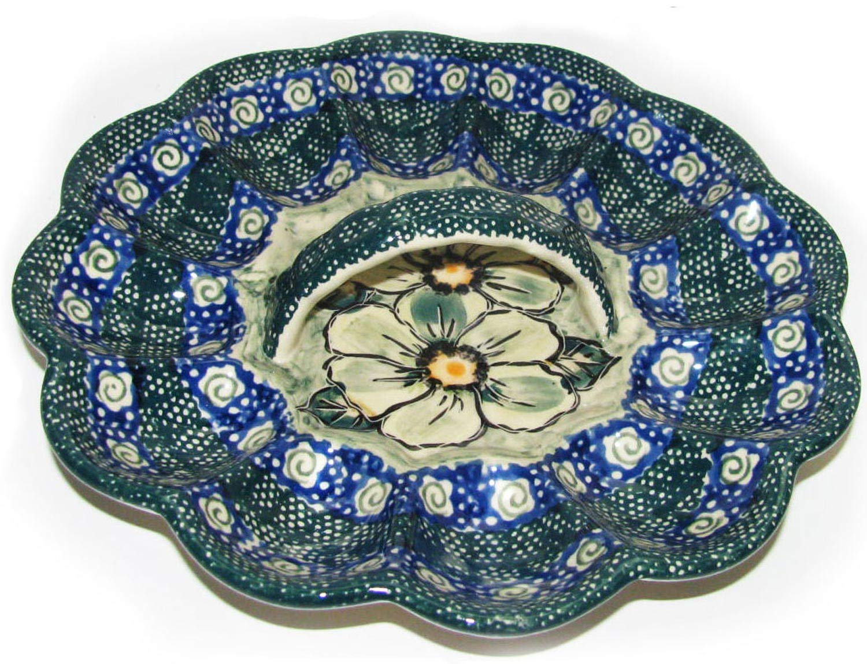Boleslawiec Polish Pottery Deviled Egg Serving Plate Eva's Collection''Green Garden''