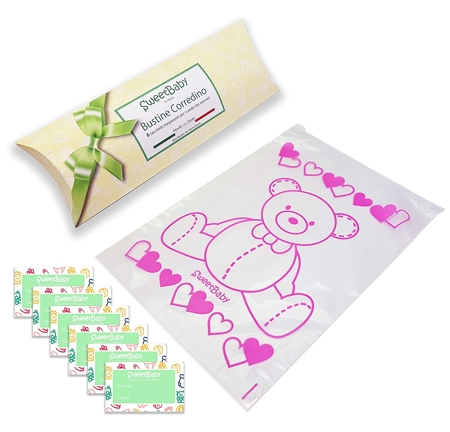 Sweetbaby 6 Layette Bags for The Newborn - Hospital Sachets 6PZ Transparent Envelopes with Cursor Airtight, Closure for Birth Pink ARCOL