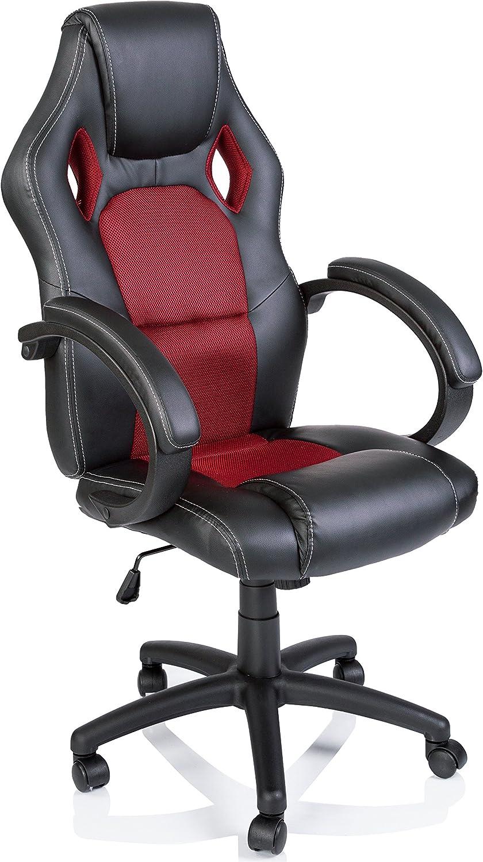 Silla giratoria de oficina Sillón de escritorio Racing, silla Gaming ergonómica, cilindro neumático certificado por SGS (Negro/Rojo)