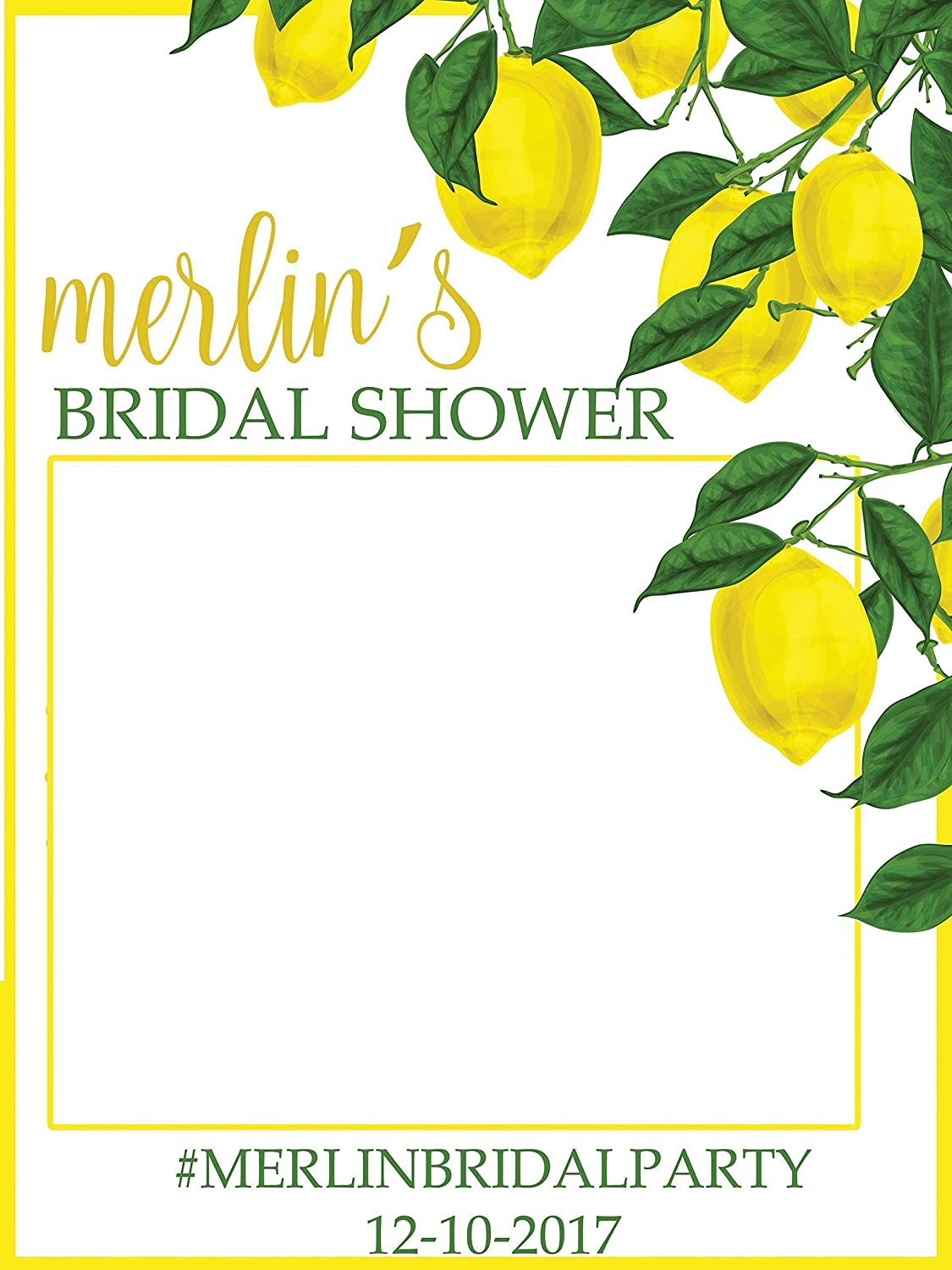 Custom Lemon Bridal Shower Photo Booth Frame - Sizes 36x24, 48x36