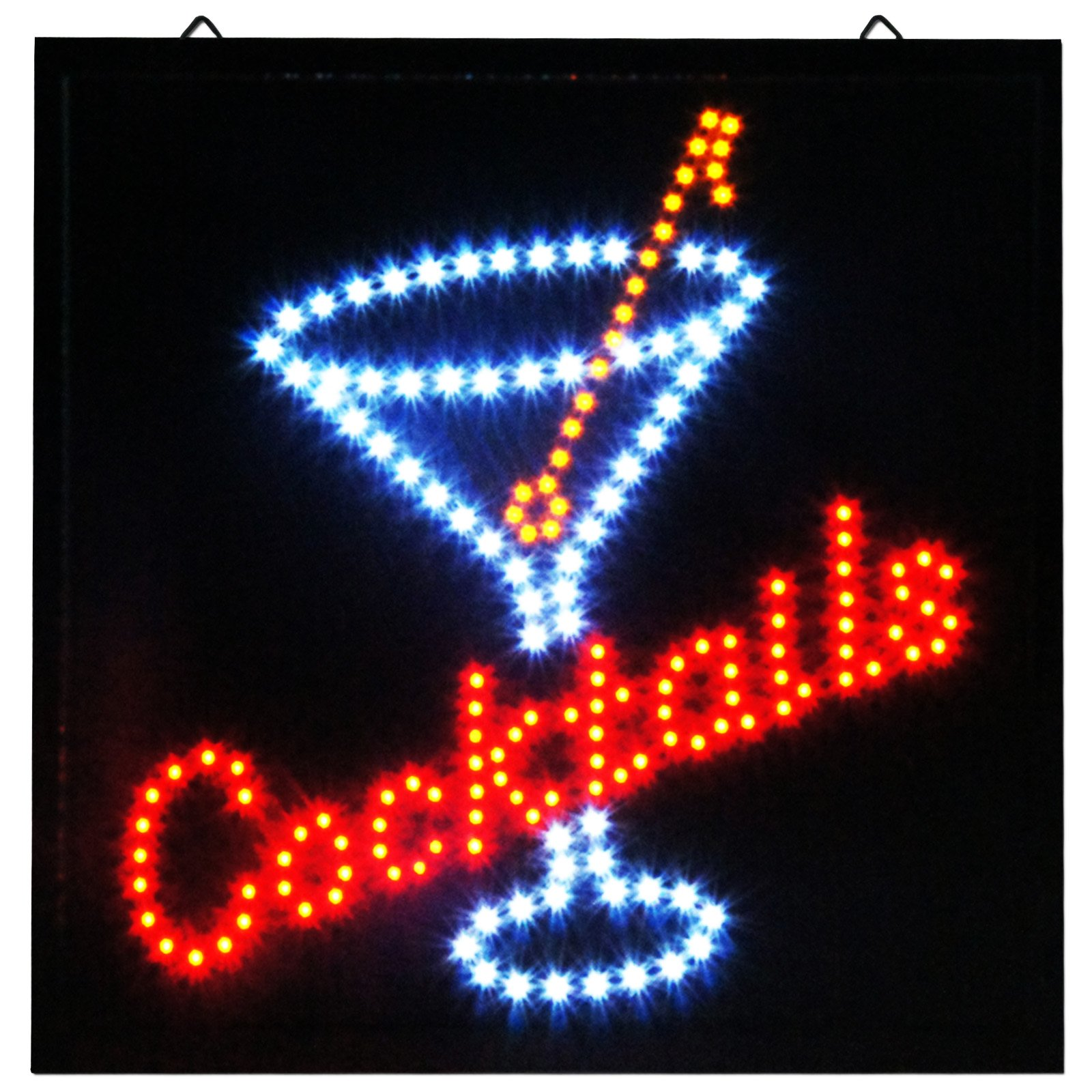 Cocktails LED Animated Open Large Sign Store Drink Pub Martini Neon Business Shop Bar Light On/Off Switch