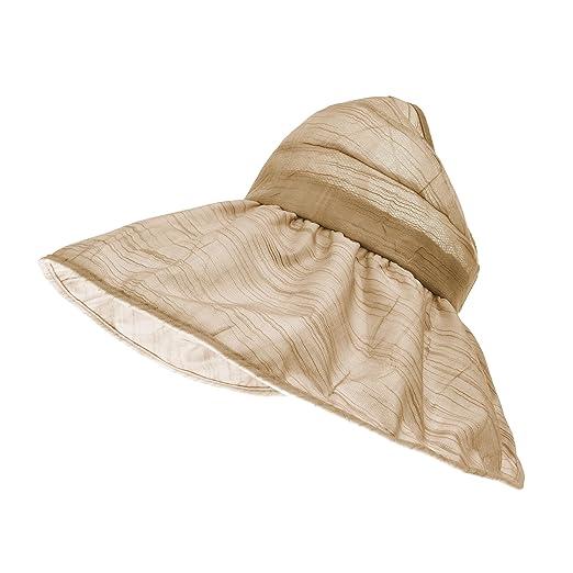 WITHMOONS Floral Ladies Sun Visor Hat with Floppy Wide Brim SL9709 (Beige) e8853007e20f