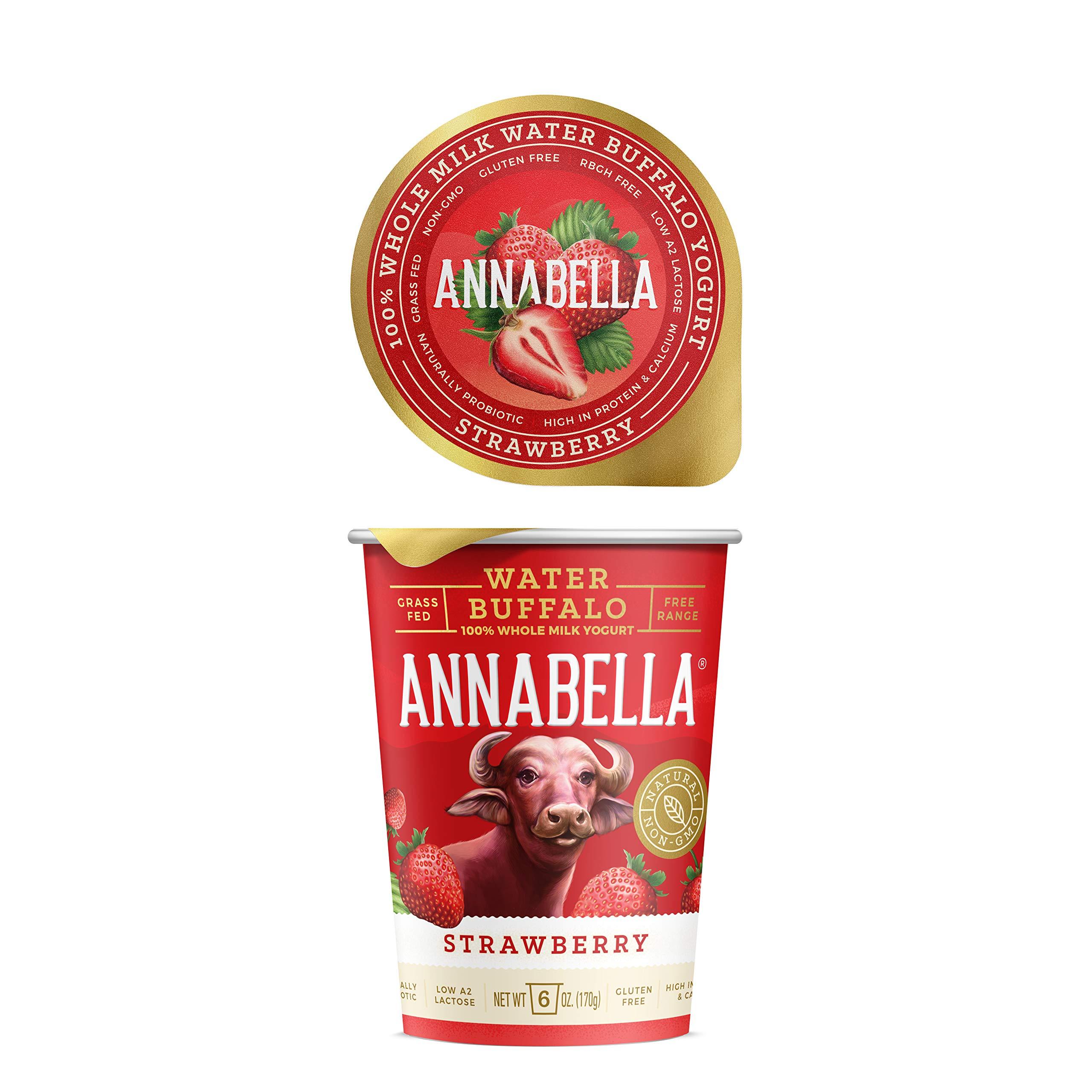 Annabella Water Buffalo Yogurt (Strawberry) - A2/A2 Water Buffalo Milk, Non-GMO, Gluten Free, 100% Grass Fed Higher Protein, More Calcium, Less Cholesterol and Lactose / 6oz Cup-6 Cups per case