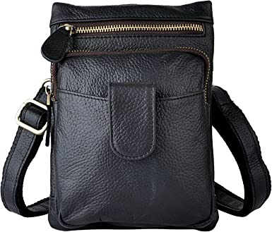 Men Genuine Leather Fanny Hook Phone Messenger Shoulder Satchel Waist Bag Pack