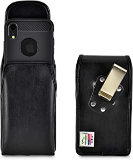 product image for Turtleback Belt Case Designed for iPhone 11 (2019) and iPhone XR (2018) Vertical Holster Black Leather Pouch with Heavy Duty Rotating Belt Clip, Made in USA