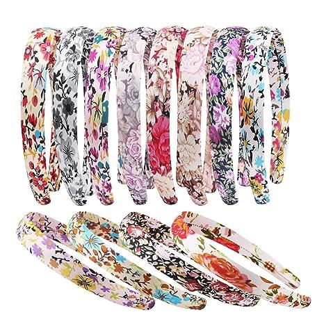 3410f79465e3 Candygirl Lot de 12 Pieces 20 mm Floral Serre-tête Recouvert Enfant Fille  Bandeau Cheveux