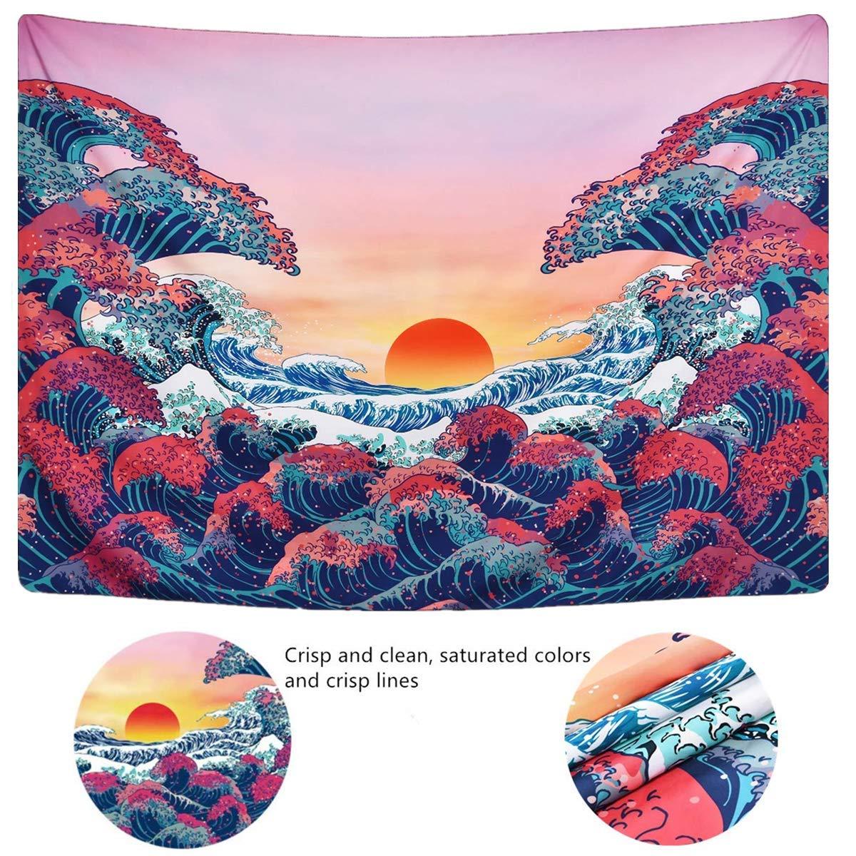 Gspirit Tapisseries D/écoratives Coucher de Soleil Oc/éan Vague Tenture Murale Serviette de Plage Chambre Tapestry 150 x 130 cm