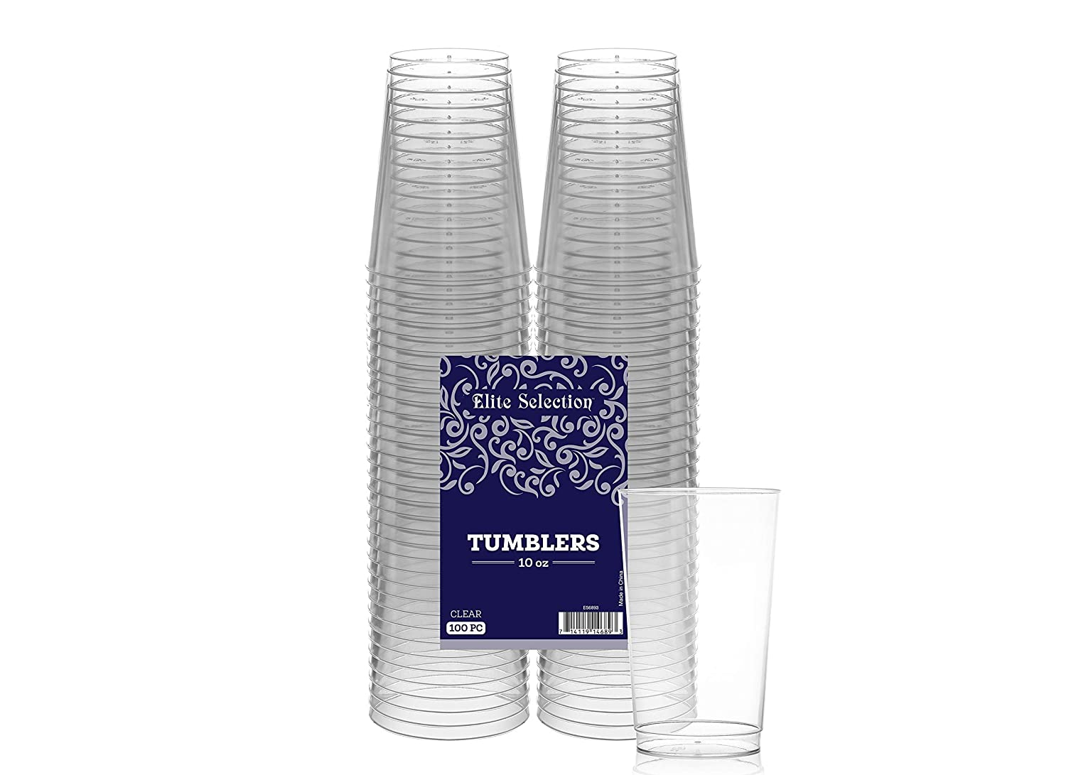 Clear Disposable Plastic Cups 10 Oz. Pack Of (100) Fancy Hard Plastic Cups - Party Accessories - Wedding - Elegant Clear Cups- Tumblers