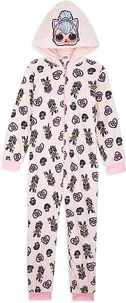 LOL Surprise! Pijama Niña de Una Pieza, Pijama Unicornio Niña con Muñecas LOL OMG, Pijama Niña Invierno Forro Polar, Regalos de Unicornios para Niñas