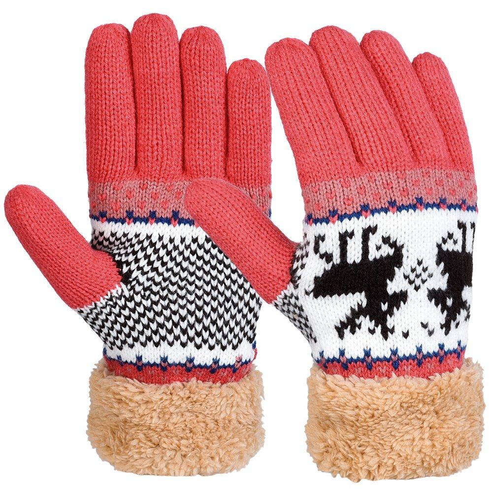 Vbiger Winter Handschuhe Warme Handschuhe Baumwolle Damen Frauen Handschuhe, Rosa(M), One Size