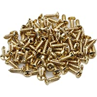Swhmc Guitar Bass Pickguard Screws for ST Electric Guitar Pack of 100 Gold