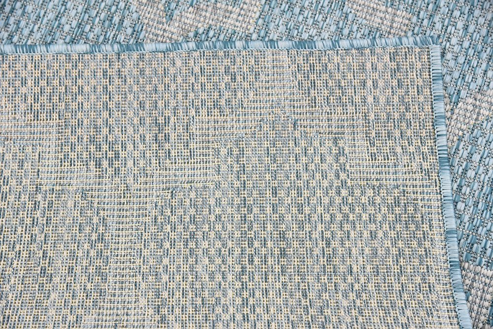 Unique Loom Outdoor Collection Casual Moroccan Lattice Geometric Aquamarine Area Rug (4 x 6)