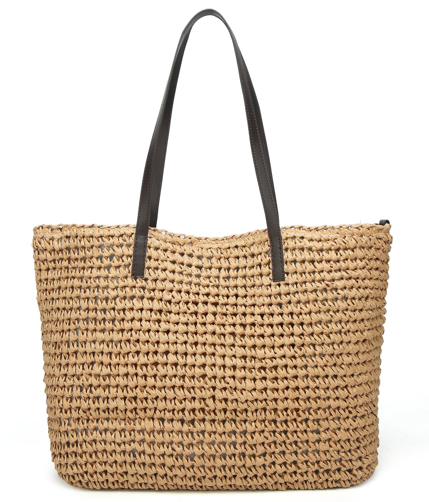 Obosoyo Women's Classic Straw Handbag Summer Beach Sea Shoulder Bag Large Tote Light-Coffee